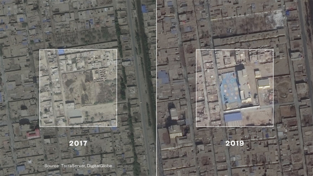 Two separate aerial views of the same site in China, one from 2017 with no building and one from 2019 with a building and colorful plaza