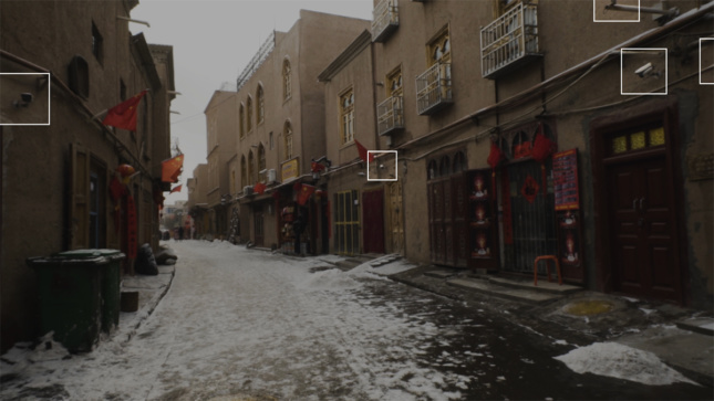 Screengrab of snowy scene in China where outdoor security cameras are pointed out