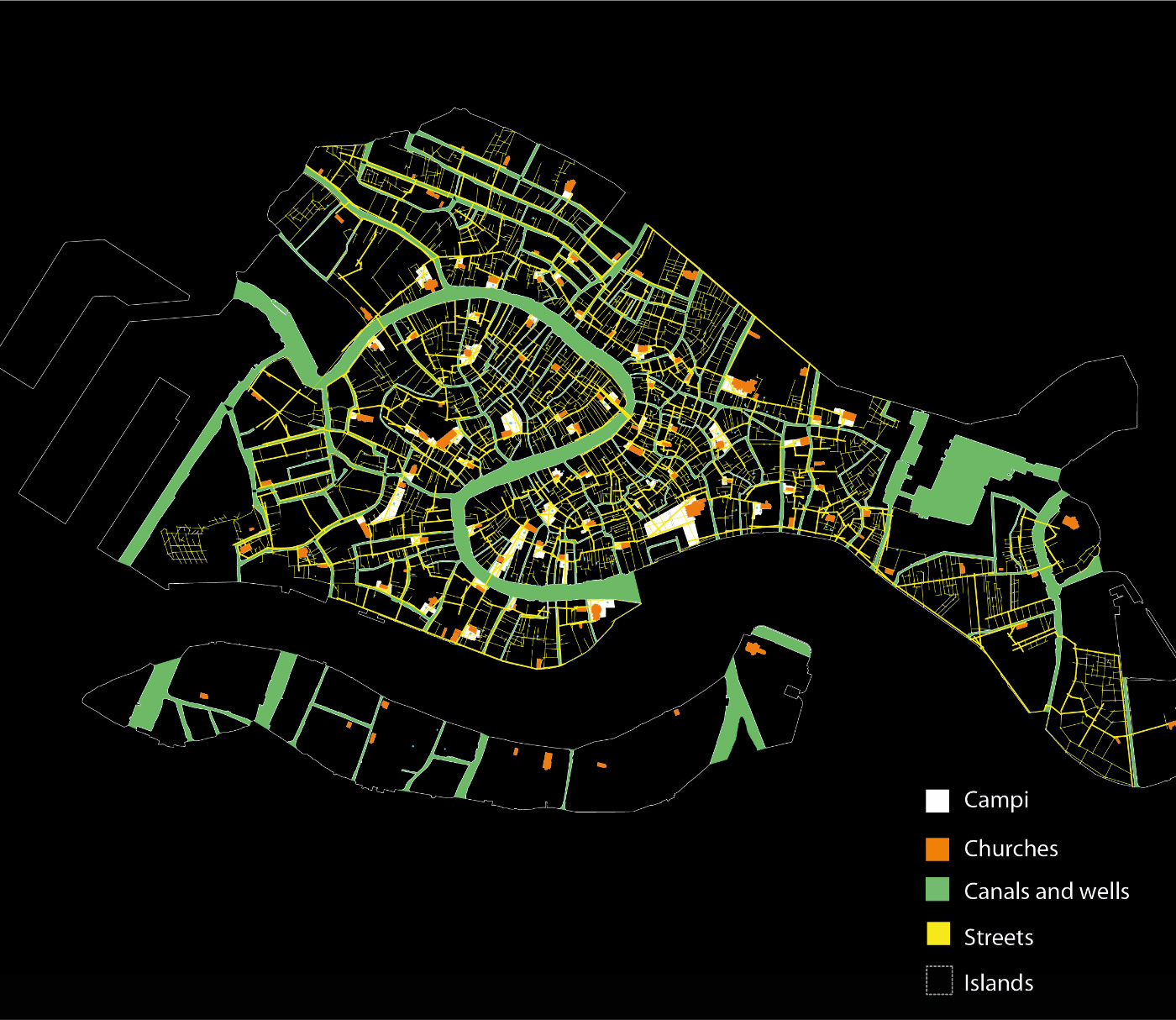 Map of Venice outlined through several social and physical metrics