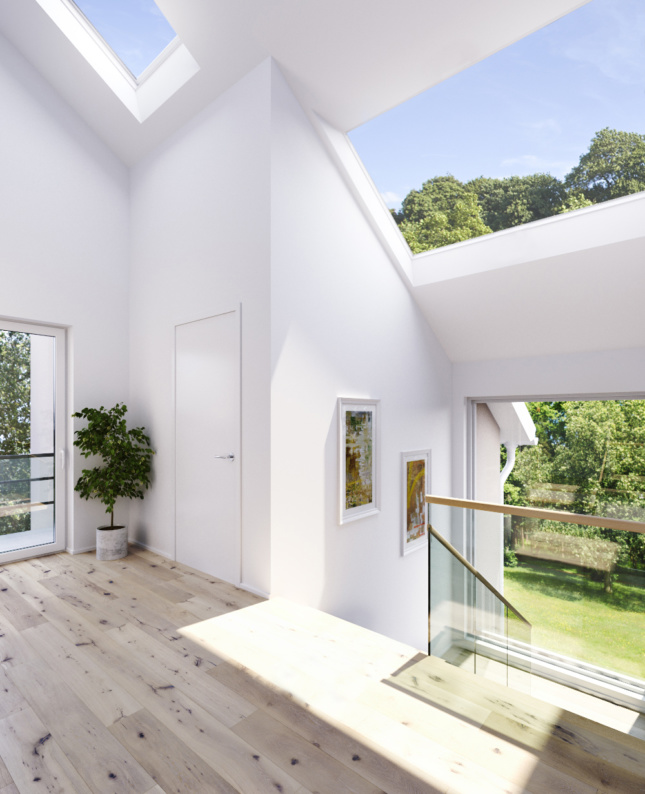 The interior of a white home with plenty of windows, the SkyMax Velux