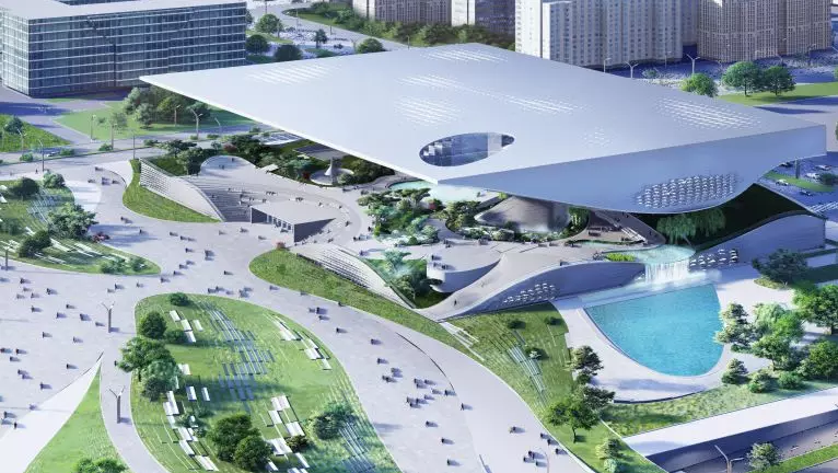Rendering of Coop Himmelb(l)au's design for the Xingtai Science and Technology Museum