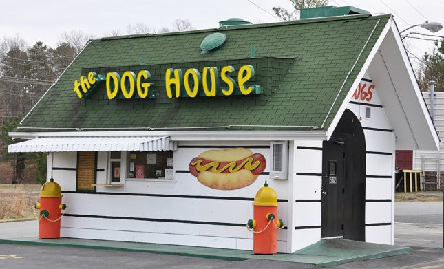 Dog House restaurant with green roof