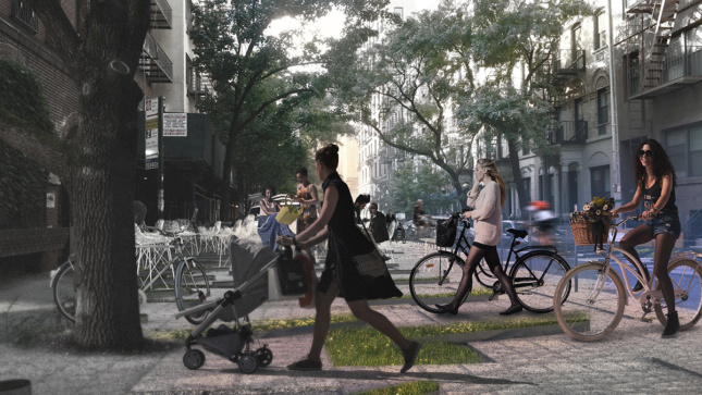 Rendering of women walking bicycles and strollers across pedestrian plaza