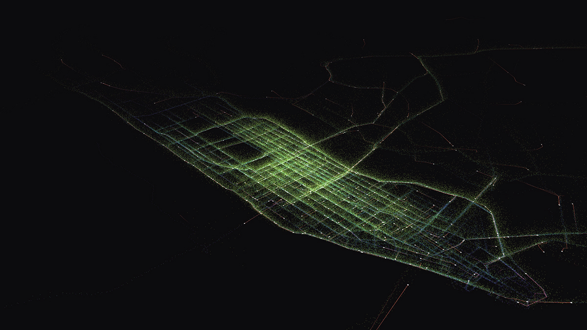 A dark map with green lines over the grid of Manhattan, created by MIT's Senseable City Lab
