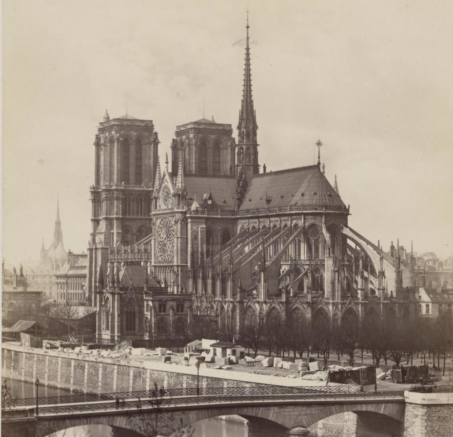 Old photograph of Notre-Dame cathedral in sepia tone