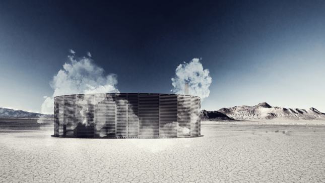 Rendering of a sauna in the desert, as part of Burning Man