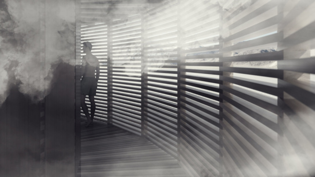 black and white rendering of a sauna