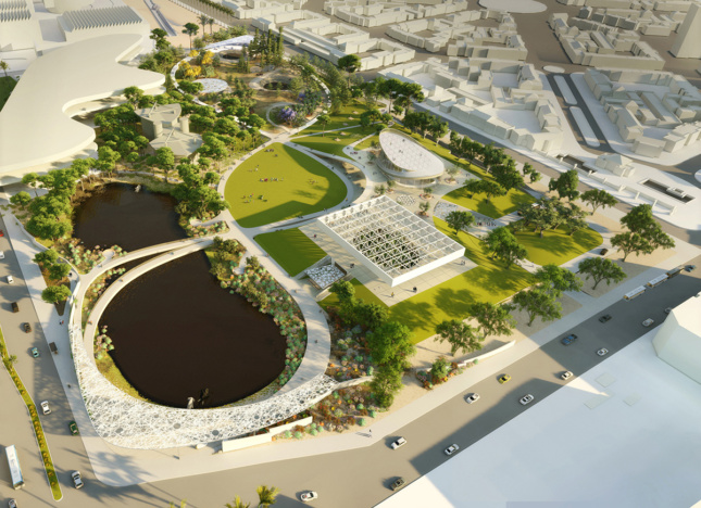 Aerial rendering of park with lopped pathway around lake and two buildings on southeastern edge