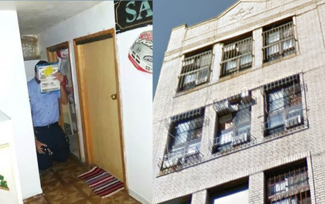 Photo of a man on his knees, next to a photo of eight air conditioners sticking out of three windows.