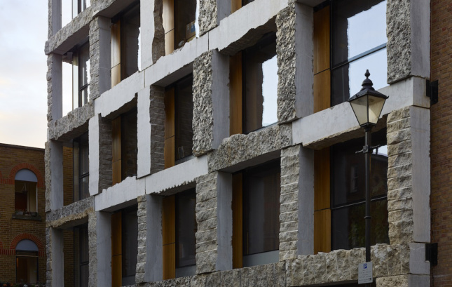 Photo of 15 Clerkenwell Close, which features load-bearing limestone pillars and columns