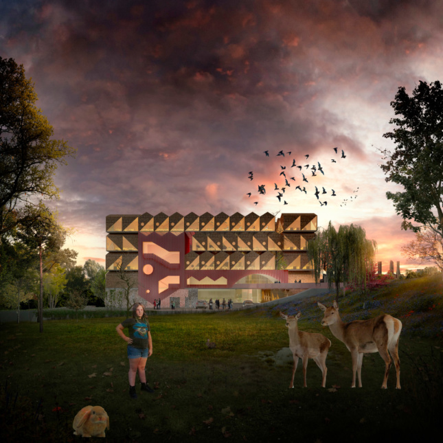 Rendering of a darkened sky with a school in the background, with a jagged roof