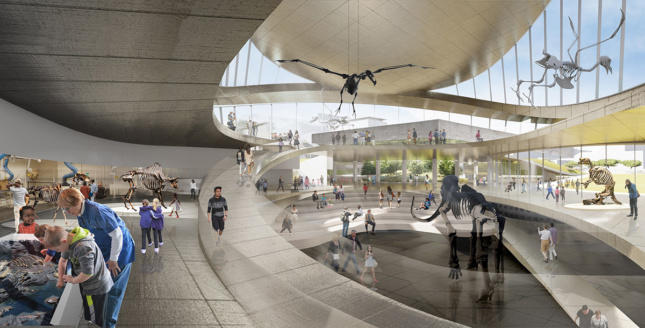 Rendering of spiraling space with three levels of galleries with views out to the La Brea Tar Pits