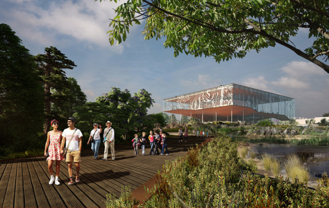 Rendering of people walking on boardwalk with landscape and museum structure behind