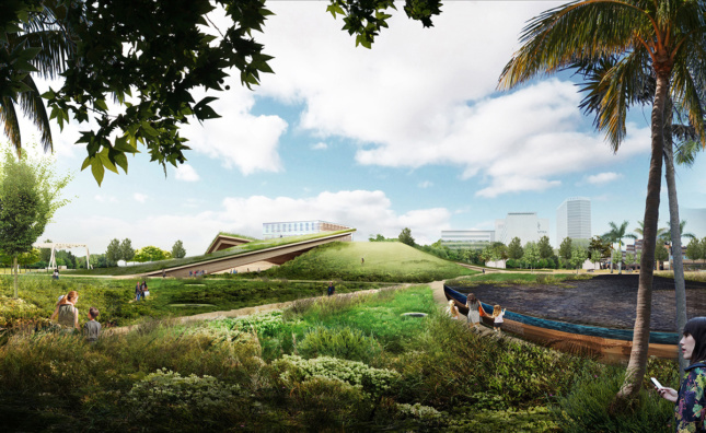 Rendering of glass museum next to lake enclosed by landscape near the La Brea Tar Pits