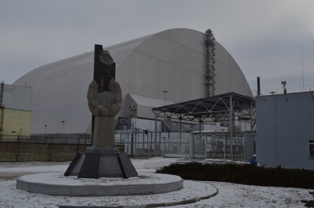 Close up view of Chernobyl steel and concrete sarcophagus