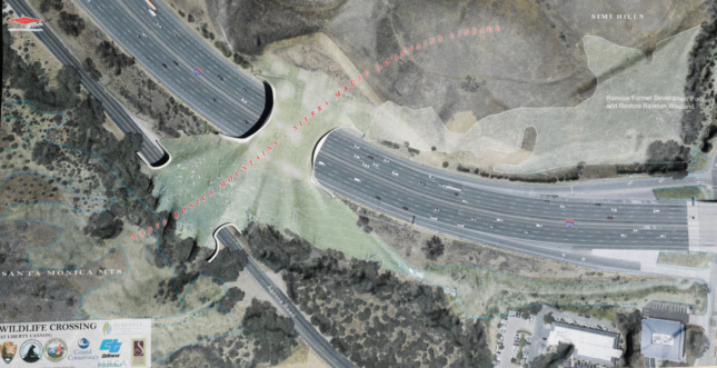 Aerial rendering of a green bridge over a highway
