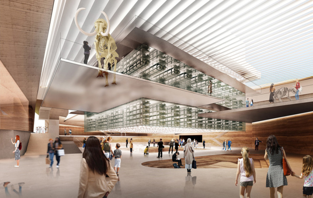 Rendering of museum lobby with glass block in center, on the grounds of the La Brea Tar Pits