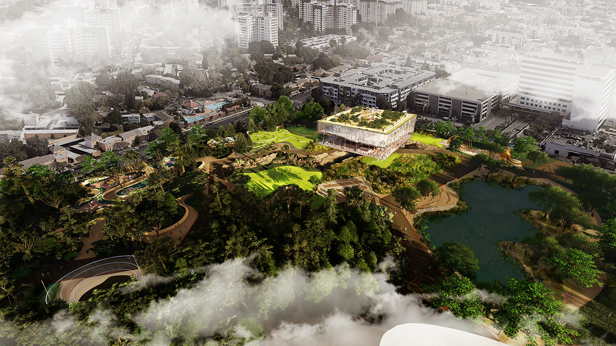 Aerial rendering of landscaped park with square stilted pavilion and roof garden; the newly envisioned La Brea Tar Pits