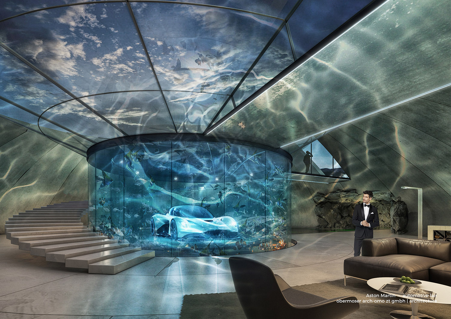 Rendering of an Aston Martin inside of a circular aquarium