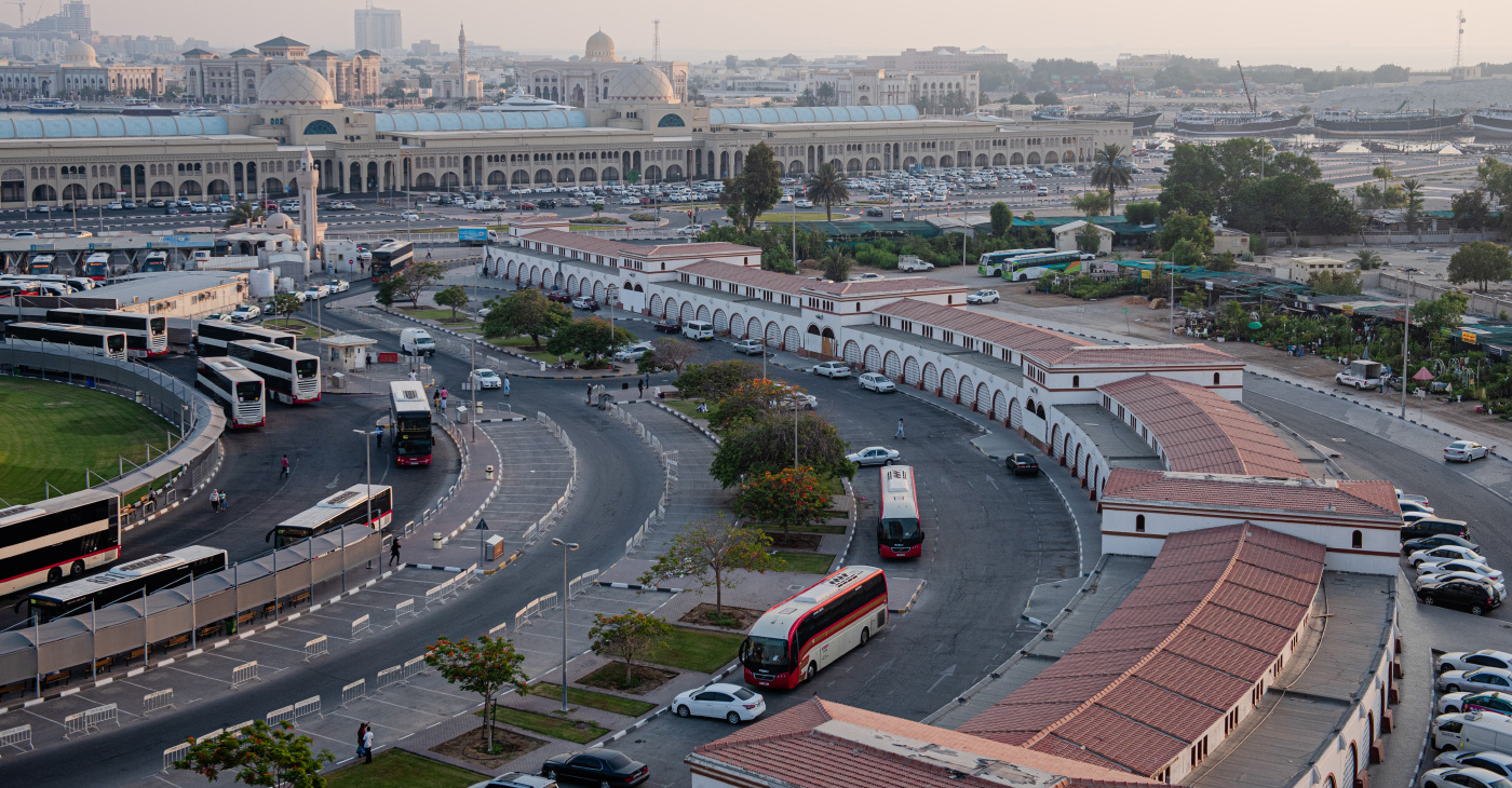 Aerial photo of a long road in Sharjah, site of the forthcoming Triennial