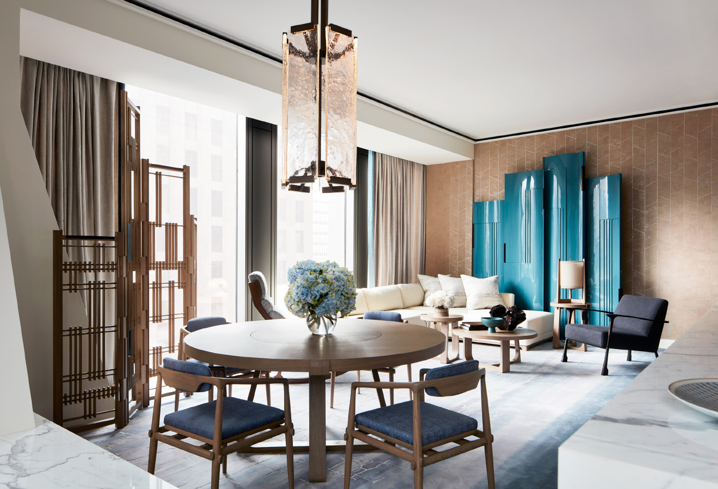 Interior photo of a sophisticated apartment space in the new MoMA tower
