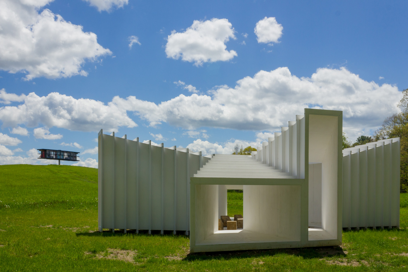 Photo of a cast-in-place concrete structure on the grounds of Art Omi