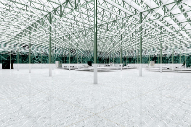Rendering of an empty warehouse-like space