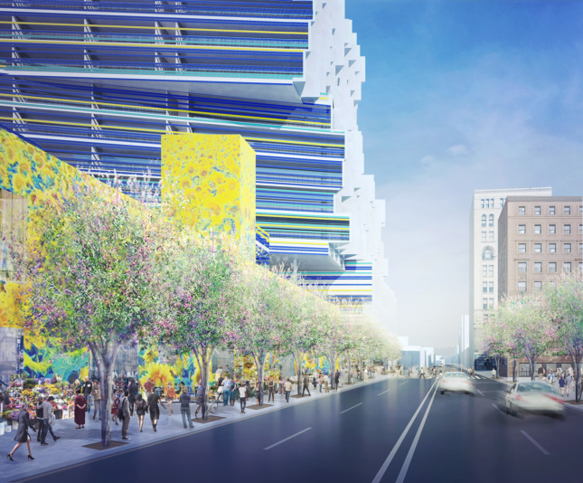 Rendering of street next to flower mural and trees