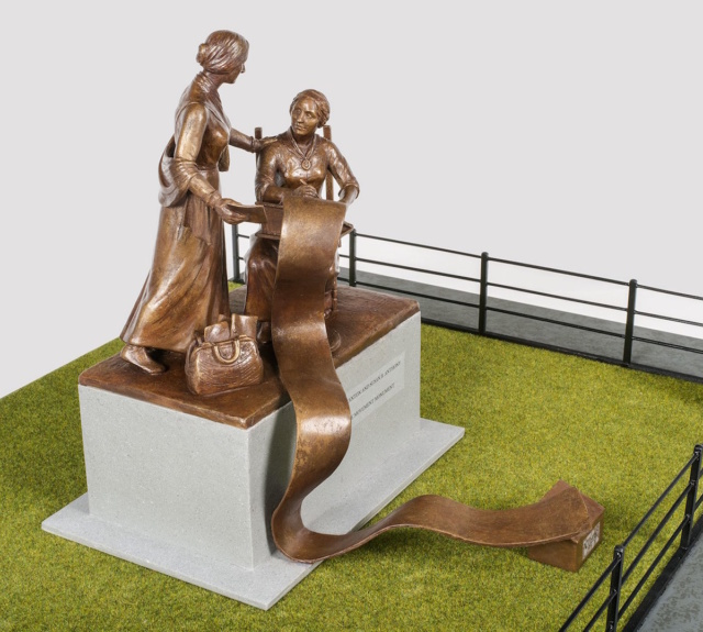 Statue mock up of two women talking with long scroll