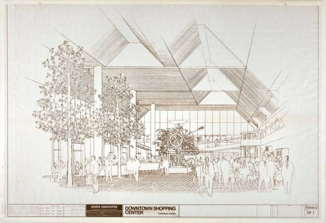 A perspective drawing of the interior atrium of César Pelli's The Commons in Columbus, Indiana.