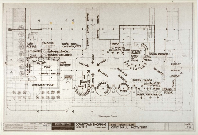A plan drawing of César Pelli's The Commons in Columbus, Indiana.