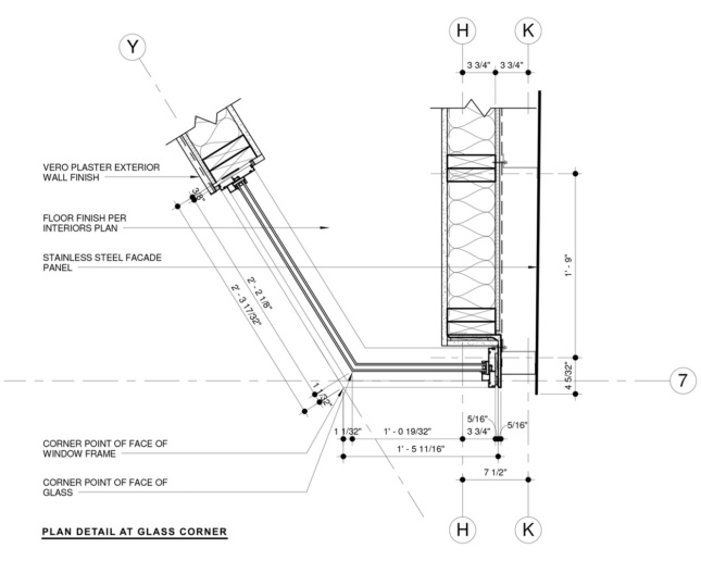 Plan detail for the glass corner of the solarium