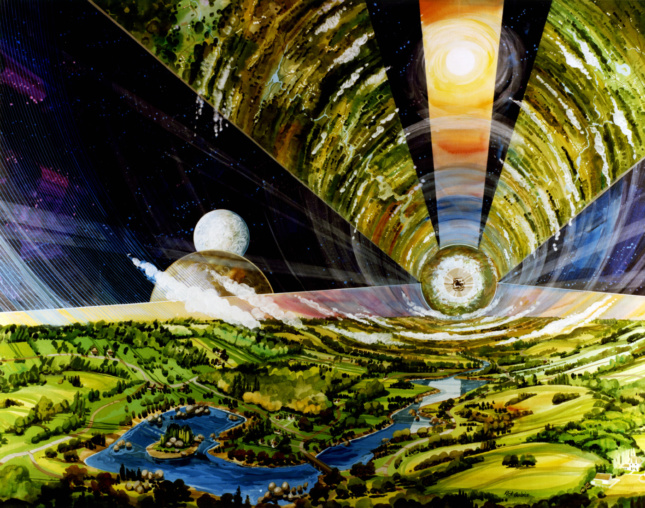 Interior painting of an enormous cylinder structure with clouds and vegetation