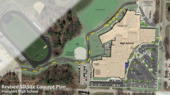 Image of site concept plan with high school, parking lot and fields