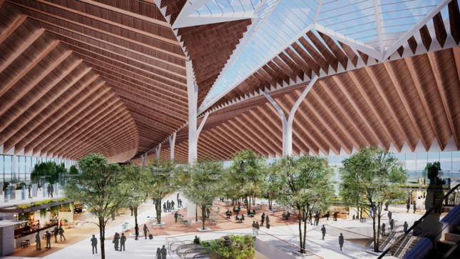 Rendering of airport interior with wooden ribbed ceilings and trees