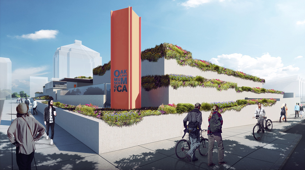 Rendering of plants overflowing on terraces with OMC sign