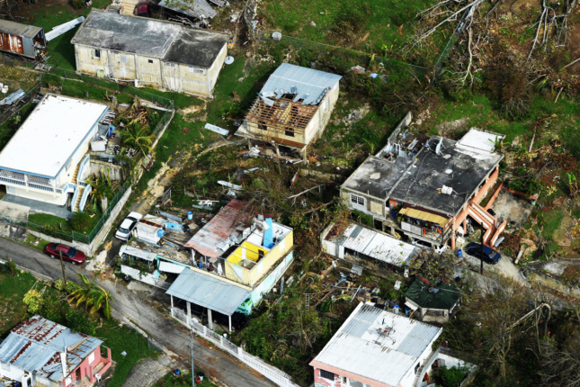 Aerial view of destroyed houses in Puerto Rico after Hurricane Maria