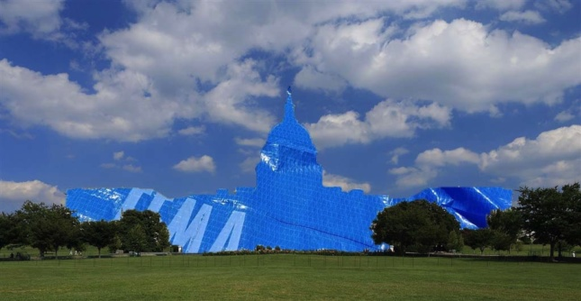 Photomontage of capitol building in U.S. covered in blue tarp