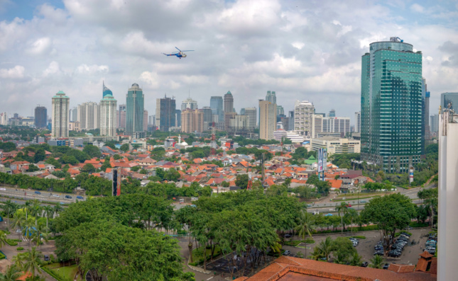 The skyline of Jakarta in cloudy weather
