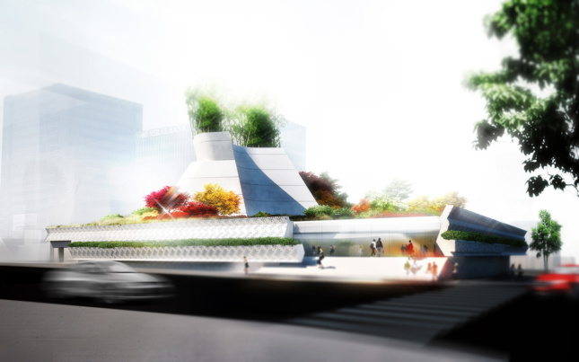 Rendering of elongated concrete building with abstract top and plants all over it for the new Korean American National Museum