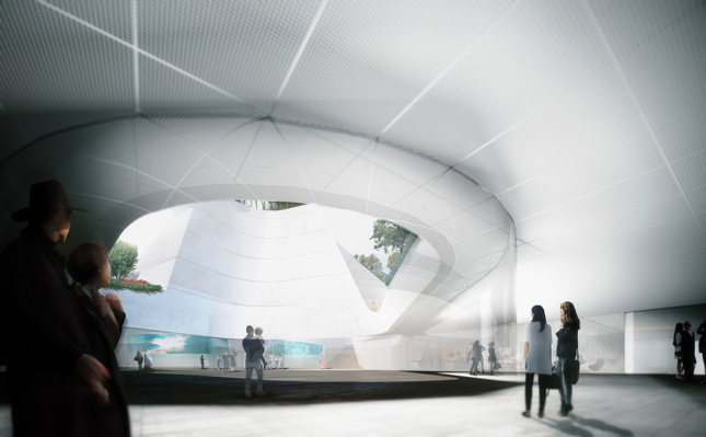 Rendering of interior atrium and open middle space