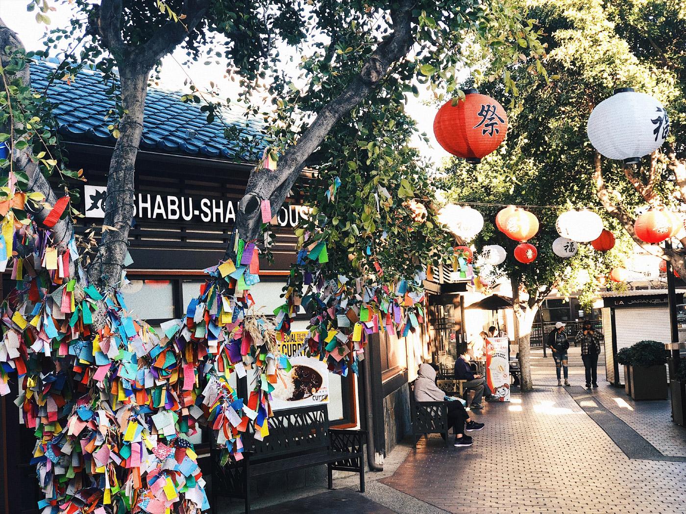 Photo of a tree covered in envelopes in Los Angeles's Little Tokyo