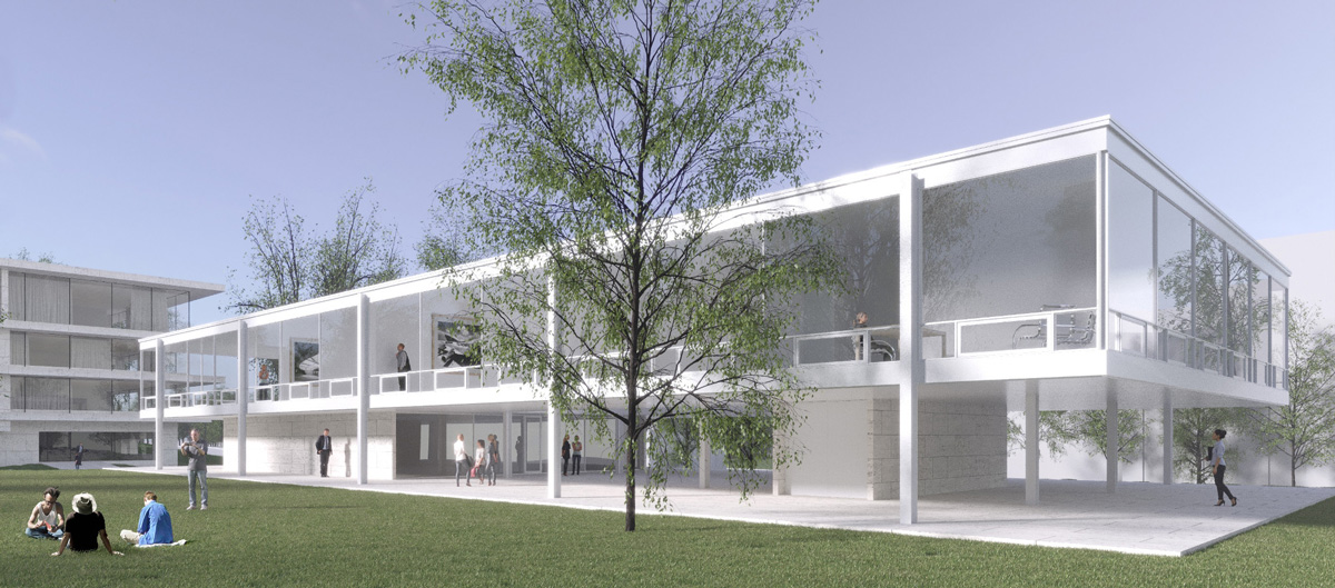 Rendering of low-hanging white steel and glass building with long windows