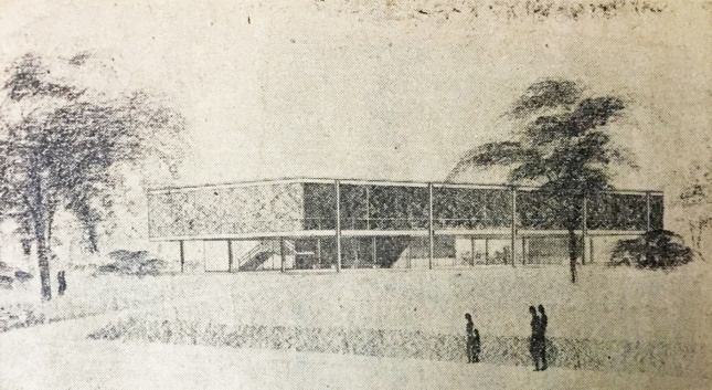Old sketch of low-hanging academic building