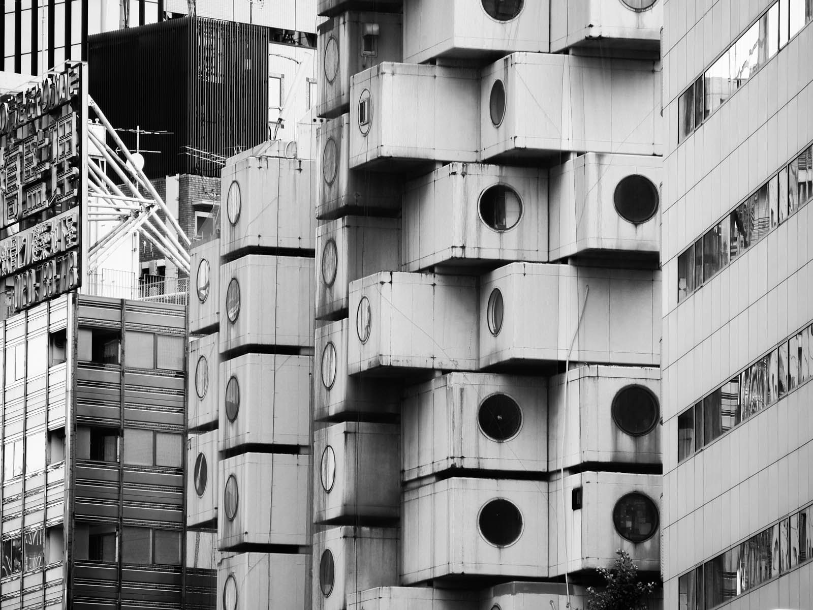 The Nakagin Capsule Tower, an iconic collection of stacked concrete cubes