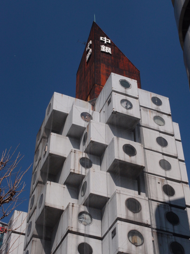 A tower composed of concrete blocks
