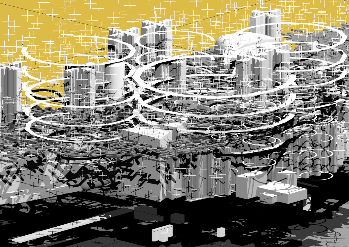 Drawing of a radical city in black and white surrounded by rings
