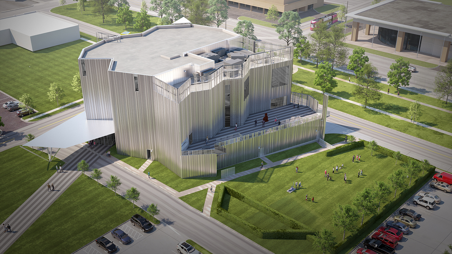 Rendering of a craggy building clad in metal panels, the new Oklahoma Contemporary Center for the Arts