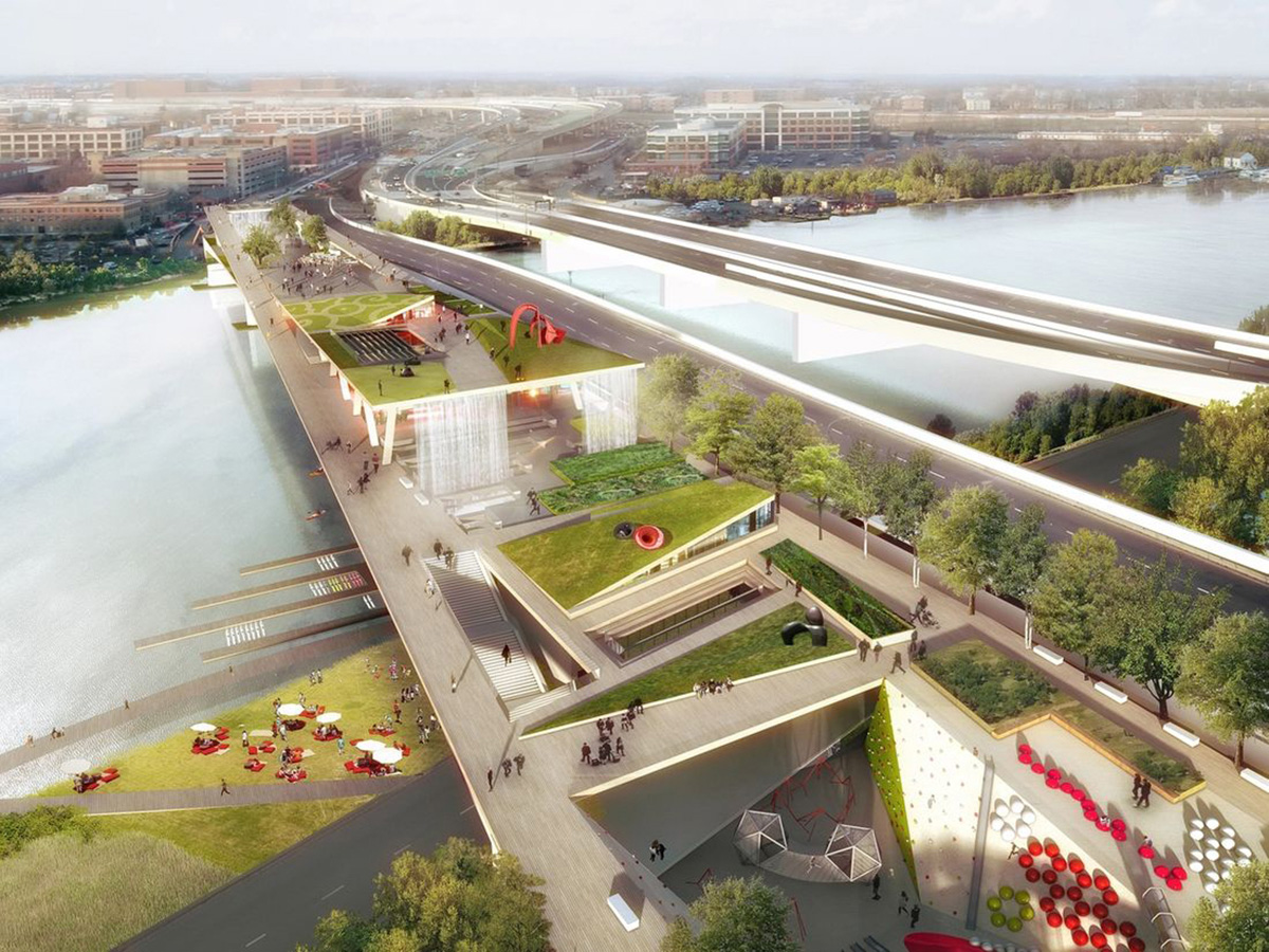 Rendering of an elevated bridge park over existing bridge in Washington d.c.