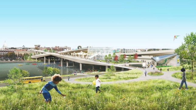 Rendering of children playing in grassy field next to elevated park